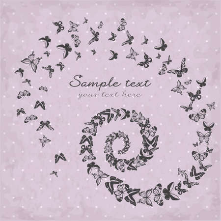 Beautiful pattern with silhouettes of butterflies Vector