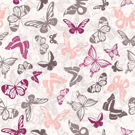 pink and black: Seamless white pattern with silhouettes of colorful butterflies