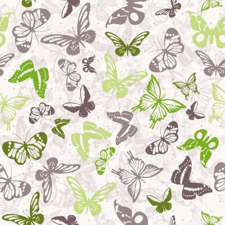 カラフルな蝶のシルエットとのシームレスな白いパターン  イラスト・ベクター素材