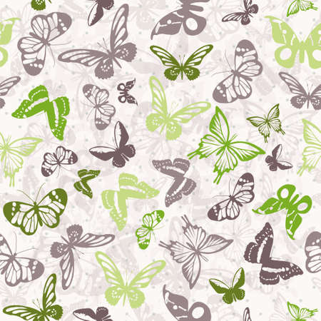 Seamless white pattern with silhouettes of colorful butterflies