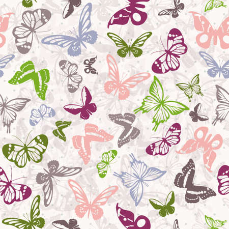 Seamless white pattern with silhouettes of colorful butterflies Vector
