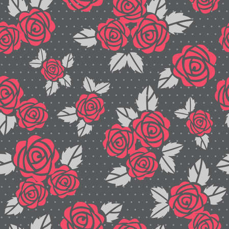 polka dots: Beautiful seamless background with red roses Illustration