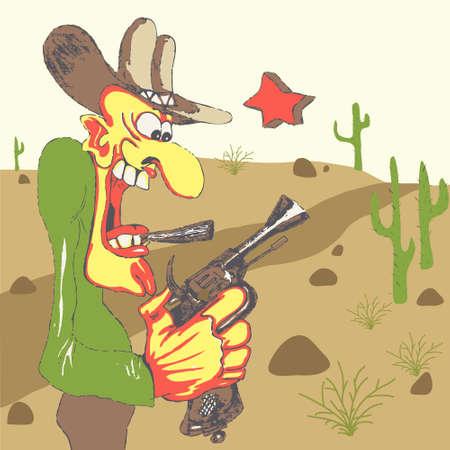 hillock: Sheriff del Oeste con su arma en el paisaje occidental