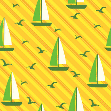 Vector seamless beach background with sails and seagulls Vector