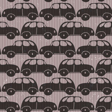 Seamless car  grungy wallpaper on striped background Vector