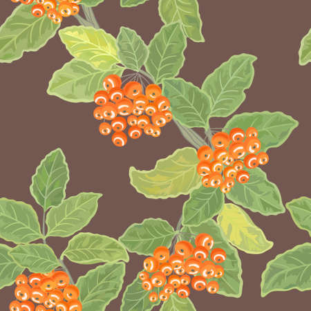 ashberry: Seamless vector pattern with rowan leaves and rowanberries
