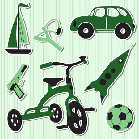 Vector illustration of funny children boy toys Vector