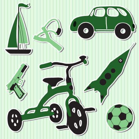 mini bike: Vector illustration of funny children boy toys