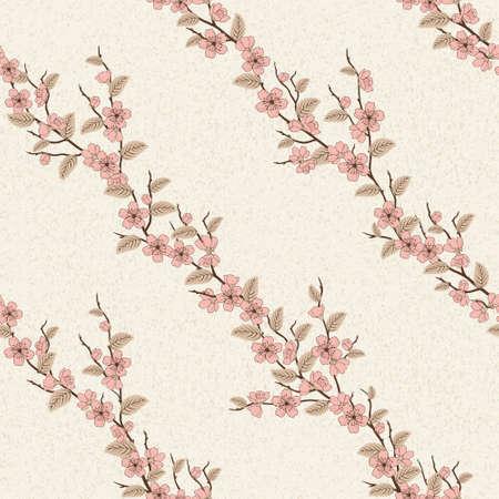 Beautiful vector seamless pattern with sakura flowers Illustration