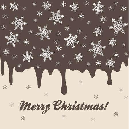 cioccolato natale: Sfondo Natale con elementi di torta al cioccolato e fiocchi di neve