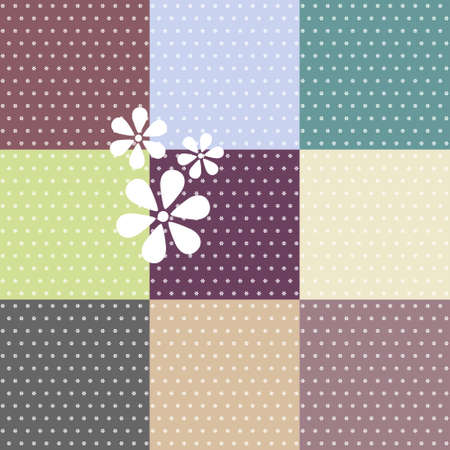 Set of seamless polka dotted patterns in pastel colors Vector
