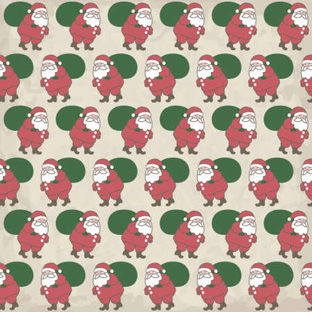 Seamless Christmas pattern with little Santas Vector
