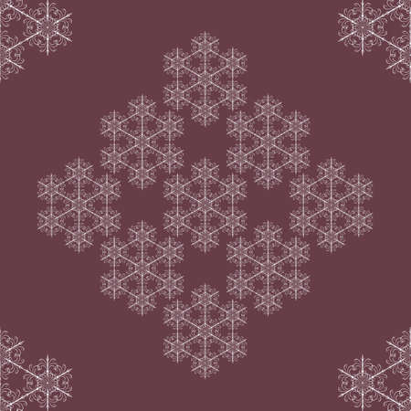 Seamless snowflakes background with vintage snowflakes Vector
