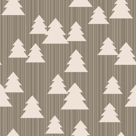 Seamless pattern with christmas trees on striped background Vector