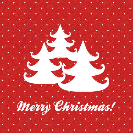 vintage Christmas card with christmas trees Vector
