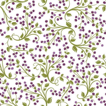 Seamless floral pattern of wild berries Vector