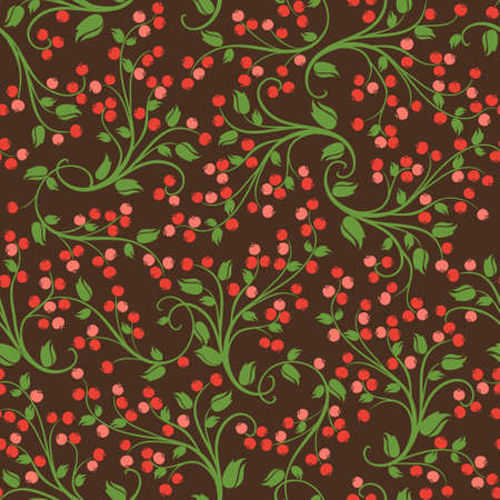 Seamless floral pattern of wild berries
