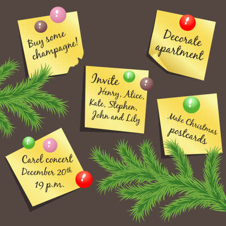 Vector stickers with Christmas notes hanging on the board Stock Vector - 16243877