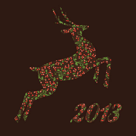 Christmas  ornamental reindeer of beautiful berries Stock Vector - 16413044