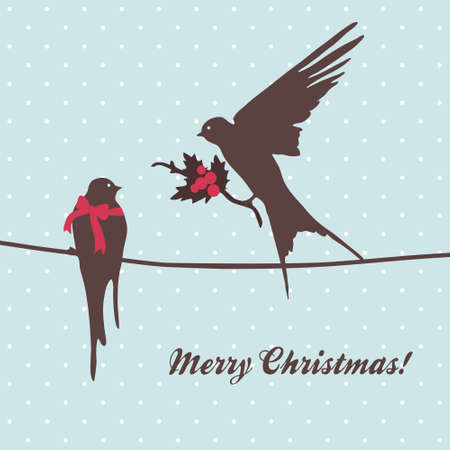 Cute  merry Christmas card with birds greeting Vector