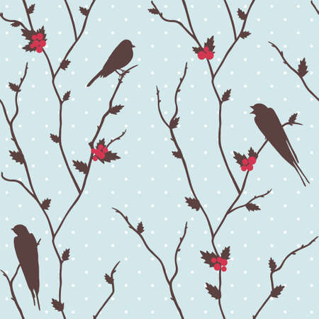Cute  merry Christmas card with birds and holly