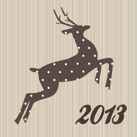 Christmas  polka dotted reindeer on wooden background Vector