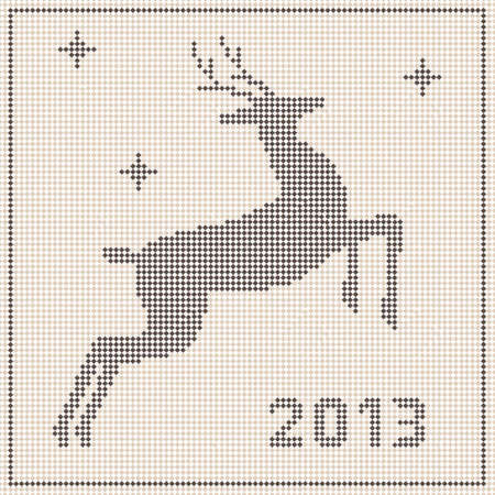 Traditional  Christmas embroidery pattern with a deer Stock Vector - 16413042