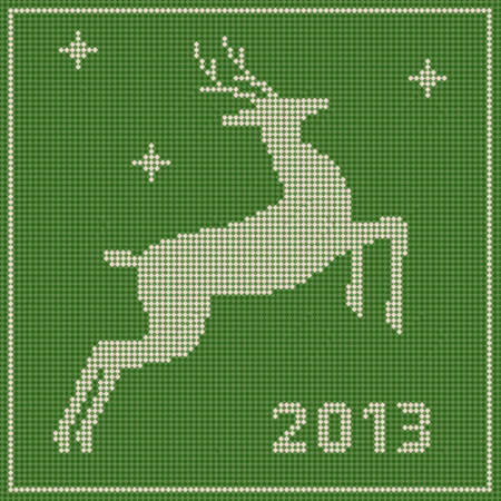 Traditional  Christmas embroidery pattern with a deer Vector