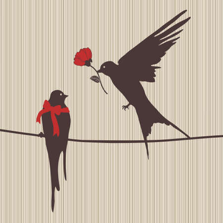 cute couple: illustration of two birds in love with flower
