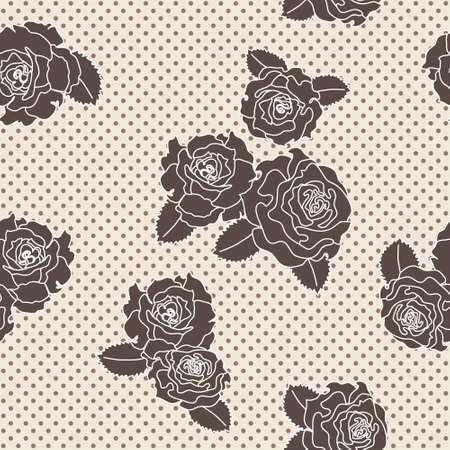 Vector rose seamless pattern on polka dotted background Vector