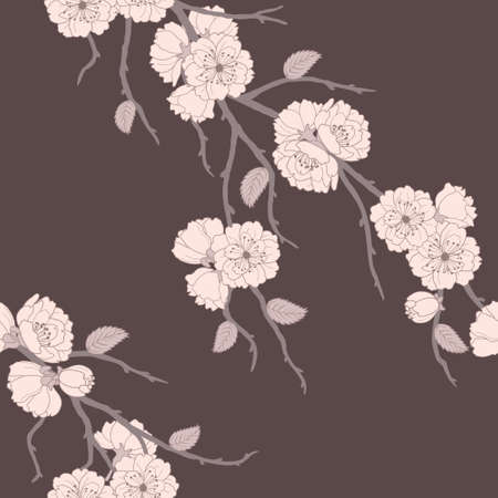 Beautiful vector seamless pattern with sakura flowers and leaves Illustration