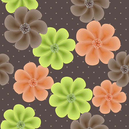 Cute seamless floral pattern with flowers of shells Stock Vector - 16818721