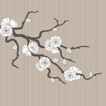 chinese pattern: Beautiful pattern with sakura flowers and leaves Illustration