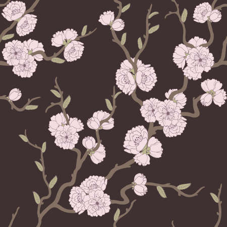 Beautiful seamless pattern with sakura flowers and leaves Vector
