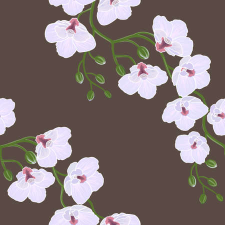 Seamless floral wallpaper with branch of orchid flowers