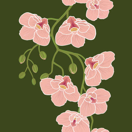 Seamless floral wallpaper with branch of orchid flowers Vector