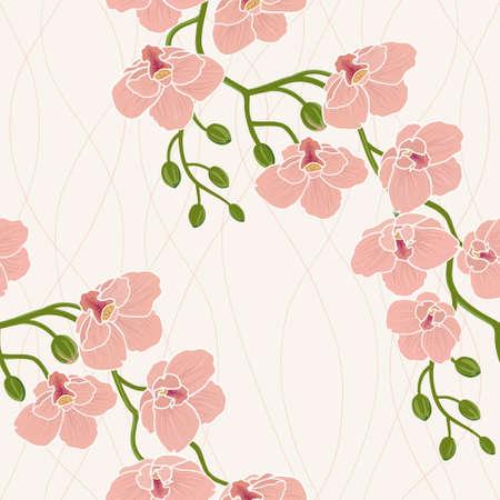 orchidee: Carta da parati floreale senza soluzione di continuità con il ramo di fiori di orchidea