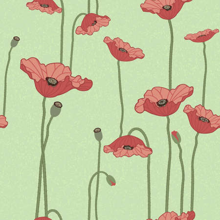 Seamless vector floral background with red poppy flowers Stock Vector - 17258754