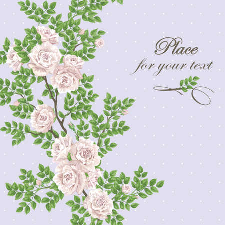 Romantic vector card with tea-rose branch and place for text Vector