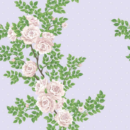romantically: Retro romantic seamless vector pattert with tea-rose branch
