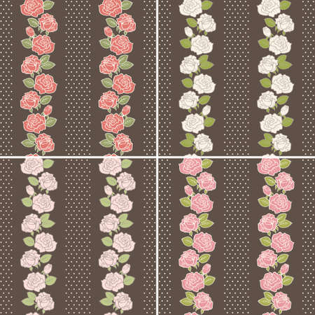 Seamless vector background set of vintage flowers with stripes Vector