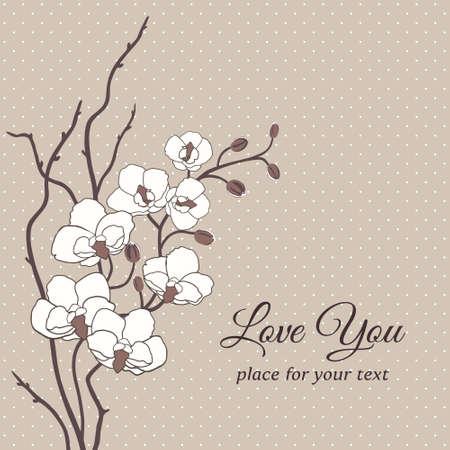 anniversario matrimonio: Romantico carta vettore floreale con fiori di orchidea Vettoriali
