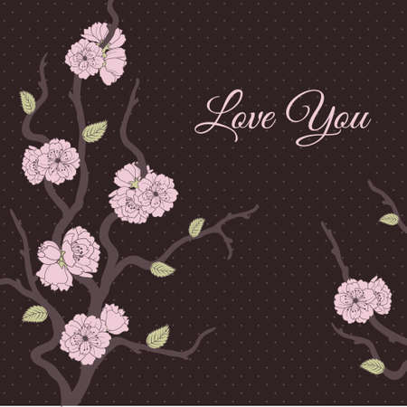 Romantic vector card with stylized cherry blossom and place for text Stock Vector - 17312676