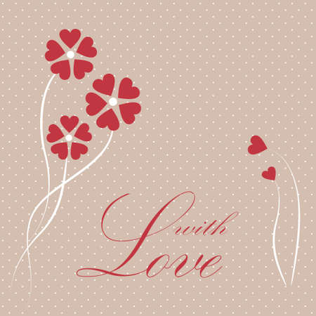Vector valentine card with hearts and flowers Stock Vector - 17312651