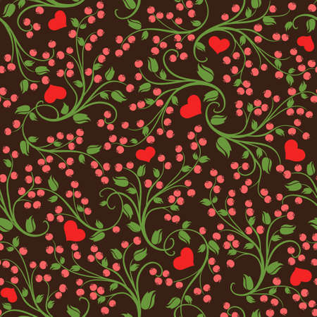 Seamless romantic vector floral pattern of wild berries Vector