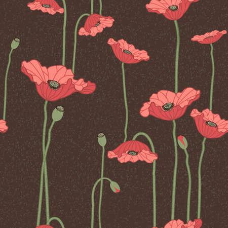 poppy field: Seamless vector background floral con flores de amapola roja