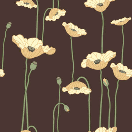 yellow vector: Seamless vector floral background with yellow poppy flowers