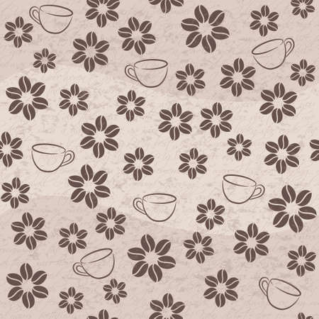 coffee seamless background with cups and flowers Vector