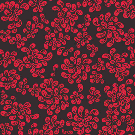 Repeating floral and feather pattern, red on black Vector