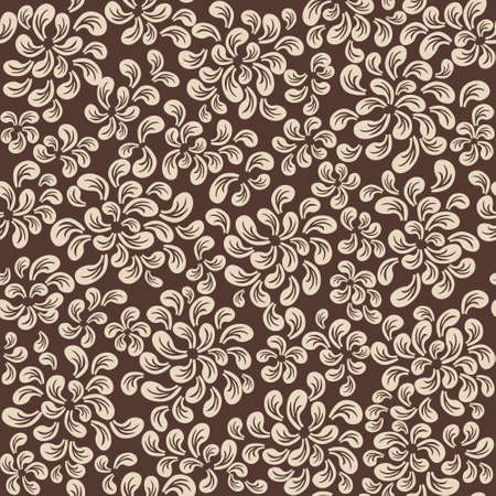 Repeating vector floral and feather pattern, beige on brown Stock Vector - 18347735